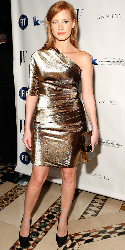 jessica-chastain-2013-fashion-institute-of-technology-gala-lanvin-one-shoulder-resort-2014-gold-lame-dress-lanvin-black-pumps