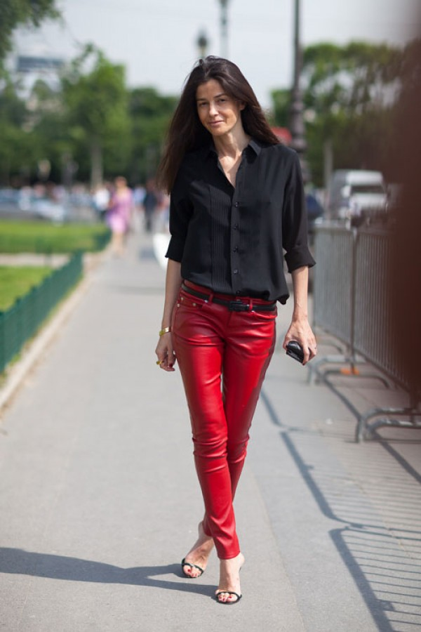 Barbara-Martelo-Saint-Laurent-Rouge-Leather-Pants-e1372877050885
